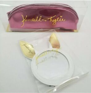 NEW-Kendall-amp-Kylie-Jenner-Makeup-Brush-Bag-Pink-Metallic-and-bunny-mirror