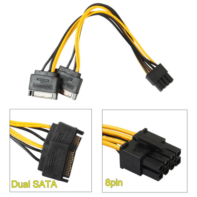 CPU EPS 8-Pin 4+4 To Dual 6+2 Pin PCI-E GPU Power Adapter Cable Y Splitter