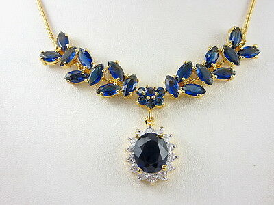 BEAUTIFUL BLUE SAPPHIRE COLOR CZ THAI JEWELRY 22K 24K Yellow Gold GP Necklace