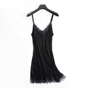 Ladies-Silk-Petticoat-Full-Slips-Strappy-Lace-Trim-Stretchy-Under-Dress-Chemise