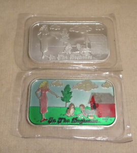 Set-Of-In-The-Dog-House-Proof-Enameled-1oz-999-Silver-Art-Bars-CMG-Mint
