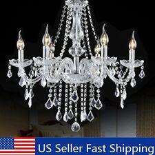 Elegant Crystal Chandelier Modern 6 Ceiling Light E12 Lamp Pendant Fixture
