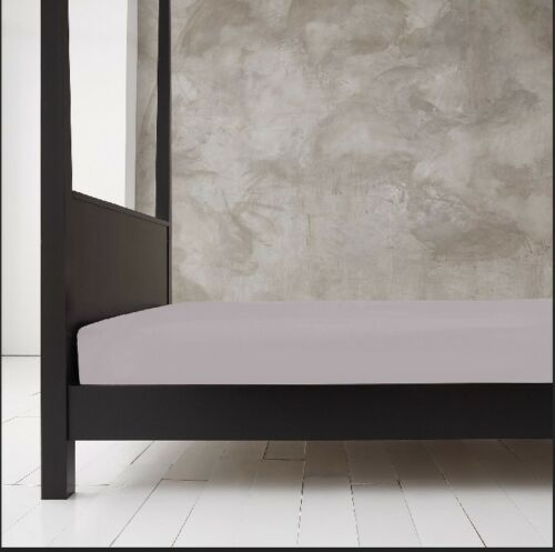 NEW GC Grey Plain Fitted Sheet Bed Linen Single 4FT Double King Super King