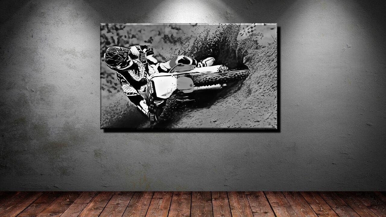 LEINWAND BILD BILDER XXL POP ART MOTO CROSS MOTORRAD BIKE MTX BMX  BIS 150x 90