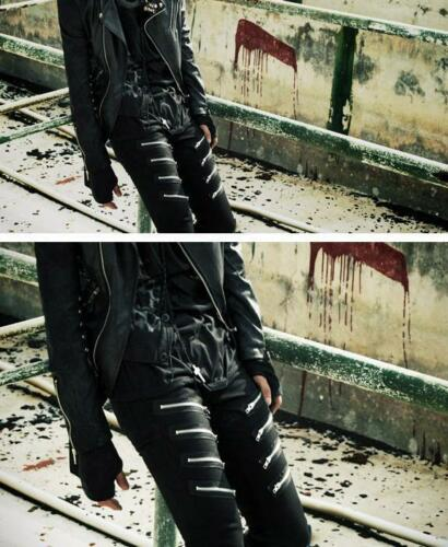 Coréen Rivet Black Men/'s Jeans Pantalon Punk Fashion Slim Fit solide Crayon Pantalon