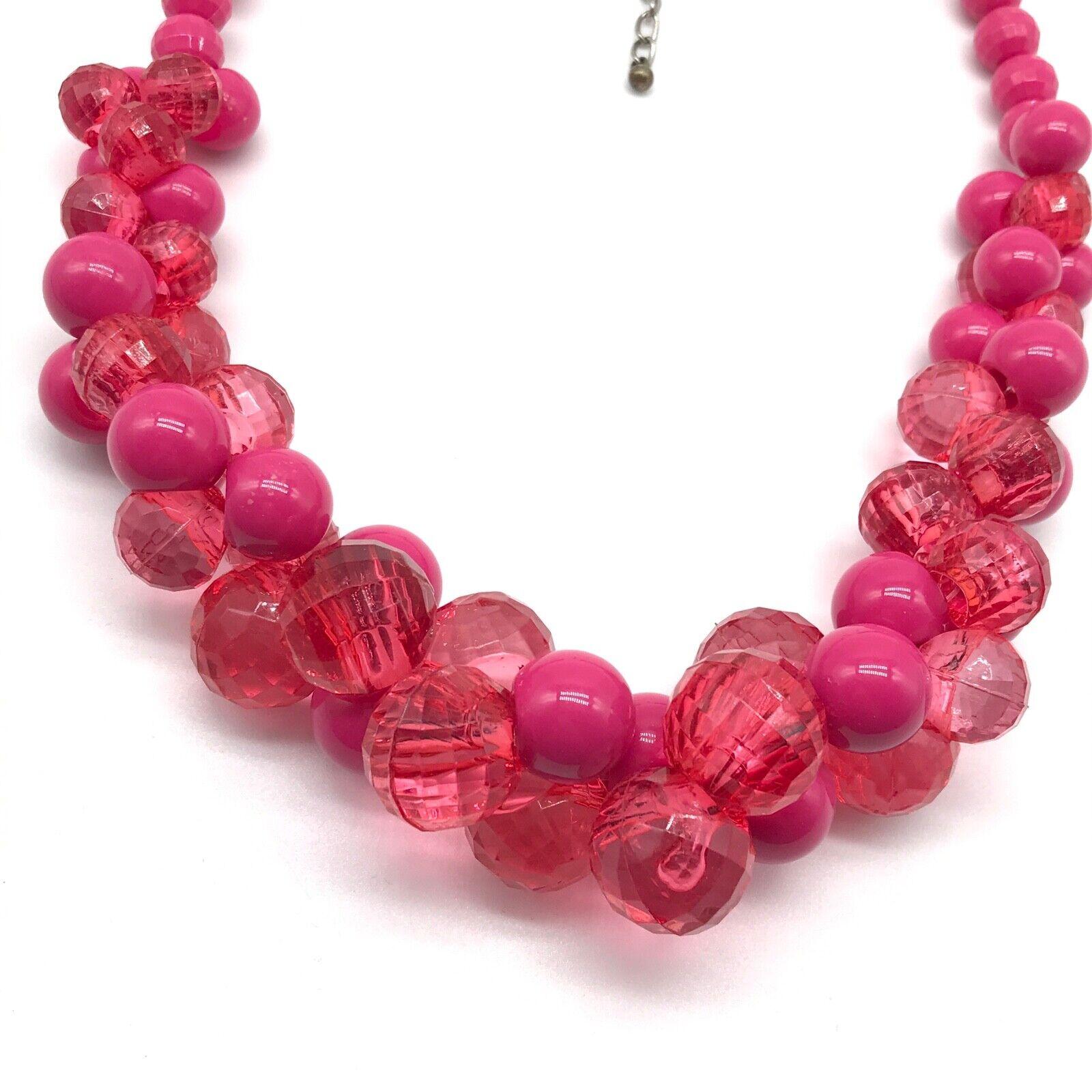 Bubblegum Pink Beaded Cluster Statement Necklace - image 2