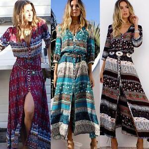 Womens-Boho-Hippie-Maxi-Long-Dress-Summer-Evening-Party-Beach-Holiday-Sundress