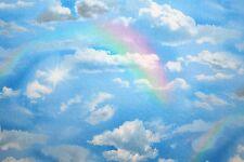 """LANDSCAPE MEDLEY"" BLUE SKY CLOUD & RAINBOW FABRIC ELIZABETH'S STUDIO"