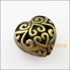 6Pcs Antiqued Gold 3D Flower Heart Spacer Beads Charms 13mm