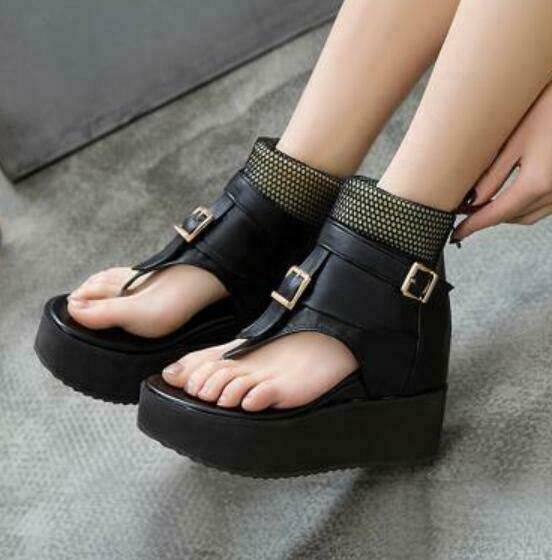 Womens Gothic High Hidden Wedge Heels Platform Buckle Strap Roman Sandals Thong