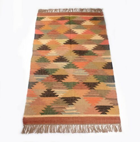 Indian Handmade Jute Wool Kilim Rug Anatolia Small 3x5 Feet Dhurrie DN-2035