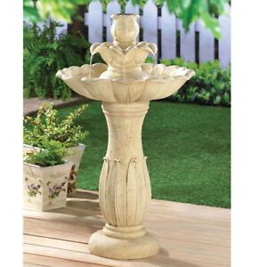 Lotus Flower Water Fountain With Base And Electric Fits Garden Or