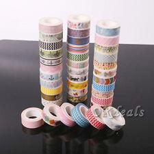 5 PIEZAS Varias 1.5cm×10m BRICOLAJE Papel Adhesivo Etiqueta Adhesiva Washi Tape