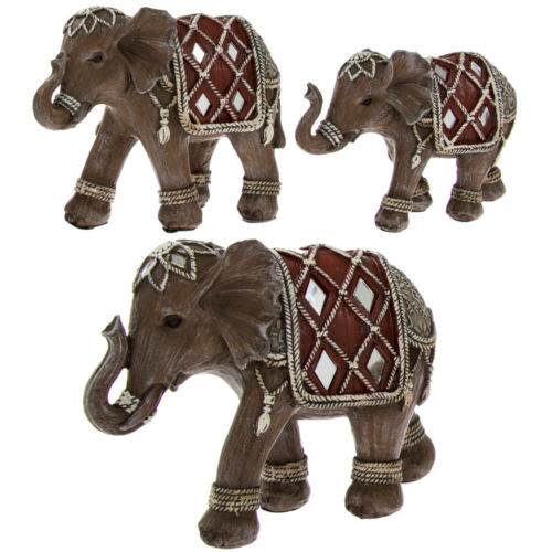Elephant Family Group inc Mum Dad /& Baby Elephants Ornament Sculpture New Boxed