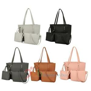 72dcb1a14828 3pcs Women Lady PU Leather Handbag Shoulder Bag Tote Purse Messenger ...