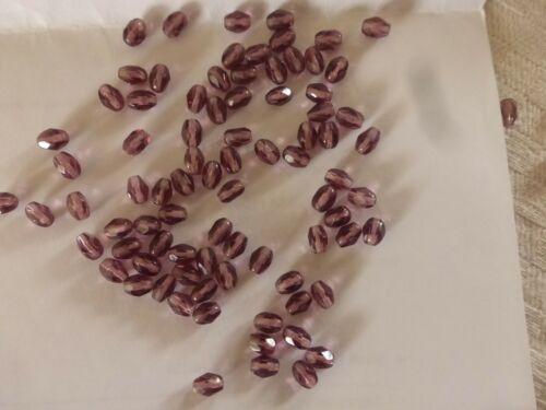 lot de 200 PERLES en cristal  ANCIENNES olive à facettes violet améthyste