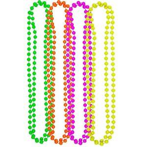 bdc70b73c5d8 La imagen se está cargando 4-Paquete-De-Neon-Collar-De-Perlas-Rosa-