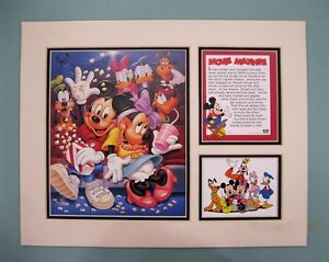 """Disney Characters 11"""" x 14"""" """"Movie Matinee"""" DOUBLE MATTED Lithograph Print"""
