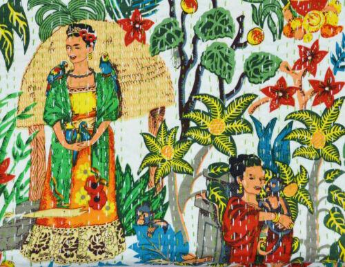 Kantha Couette Indien Coton Frida Kahlo Literie Ethnique Couverture Couvre Lit