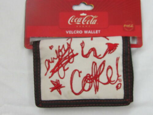 Coca-Cola Wallet White with Red Doodle Scribble New Tri-Fold