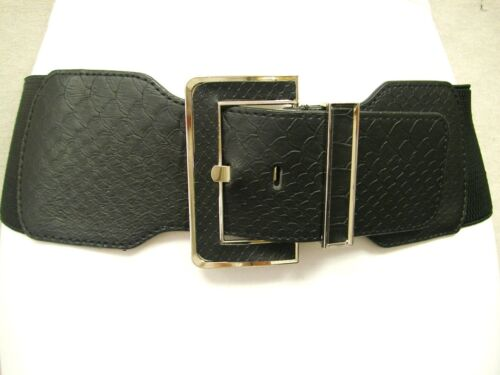 "WOMENS HIP FAUX SNAKESKIN METAL SQUARE BUCKLE CASUAL ELASTIC BELT BLACK 27/""-40/"""