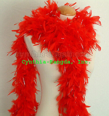 Purple w// Silver Tinsel 65 Grams Chandelle Feather Boa  Party Halloween Costume
