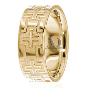 Image Is Loading Mens Cross Wedding Band 8mm Wide Solid