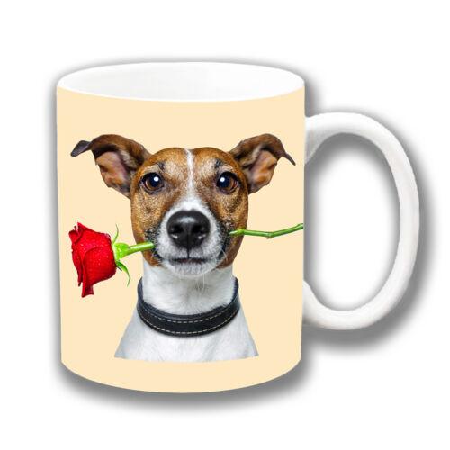 Jack Russell Hellbraun Weiß Rote Rose Kaffeetasse Weihnachtsgeschenk oder Füller