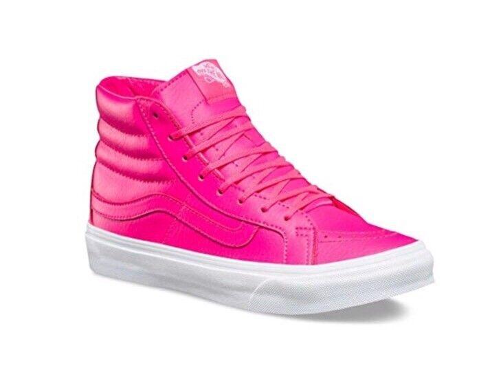 Vans Unisex Perf Leather Sk8-Hi Slim Zip True Neon Pink Men's 3.5 Women's SZ 5.0