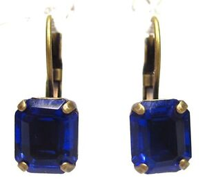 SoHo-Ohrhaenger-vintage-bohemia-Glas-kobaltblau-boehmisches-glas-1960er-Jahre