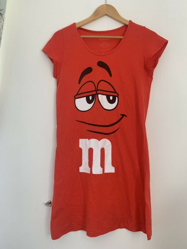 Ladies M&m Night Dress S/m 8/10 Red Short Sleeve Cotton Casual