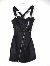 Diesel Womens Black Raka Removable Overall Sleeveless Moto Leather Dress XS $550