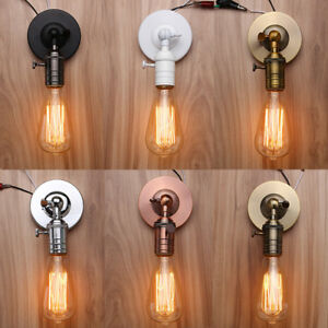 edison e27 lampenfassung retro antike halterung lampenfu mit schalter wandlampe ebay. Black Bedroom Furniture Sets. Home Design Ideas