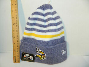 d8744811033144 Minnesota Vikings Knit NFL New Era striped Chill Hat Winter Pom ...