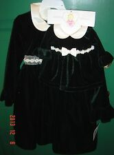NEW Holiday Dark Green VELVET Dress SZ 5 Girl & MATCHING Doll Dress Princess