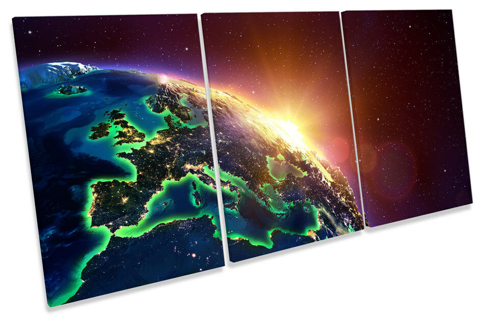 Planet earth astronomy sunrise canvas triple print picture art wall