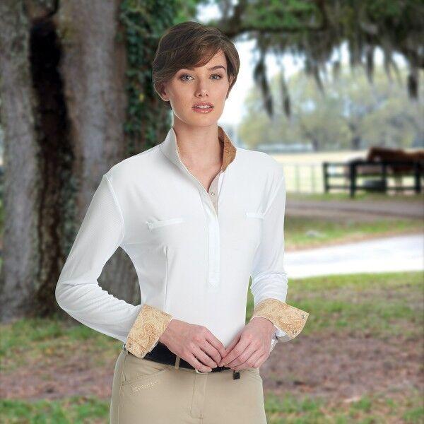 ROMFH Penelope Show Shirt Long Sleeve Sand Paisley White Washable Medium NEW