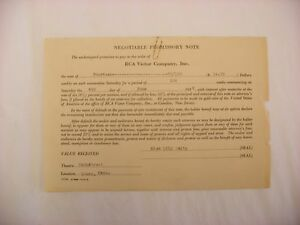 Original RCA Victor Phonograph Negotiable Promissory Note - 1932