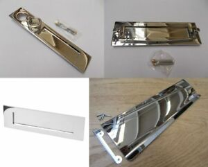 POLISHED-CHROME-Front-door-Internal-External-letter-box-postal-plate-cover