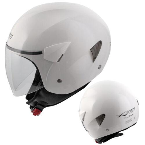 Open Face Jet Helmet Motorcycle Motorbike Scooter Antiscratch Visor White