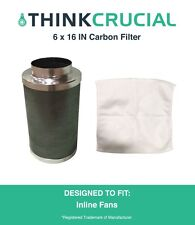 "6"" x 16"" Carbon Inline Fan Filter, Odor Control, 400 CFM, Part # GLFILT6M"