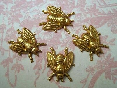 Large Raw Brass Fly Stampings 2 RAT3819 Jewelry Finding