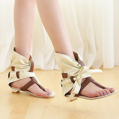 Womens Gladiator Lacing Grid Cloth Flip-Flop Flat Sandals Roman School Boots Top