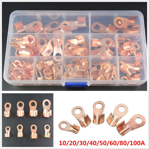 Copper Open Lugs Battery Cable Connector Terminals OT 10A-100A 90Pcs with Box