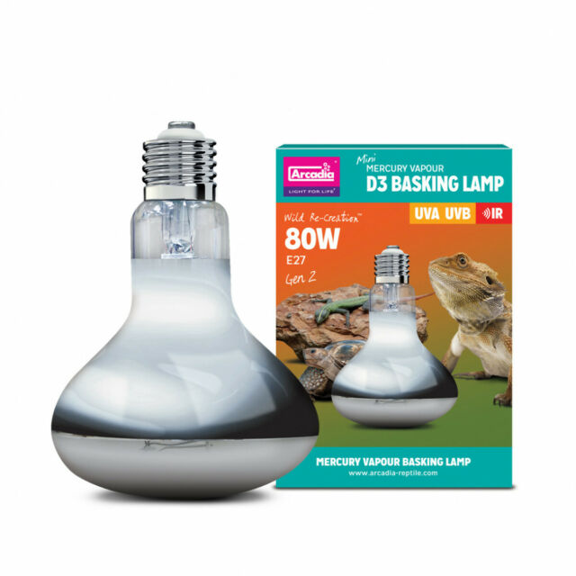 80w Gen 2 Arcadia D3 UV Reptile Basking Heat Light Lamp Bulb Infrared UVA UVB