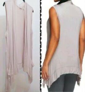 LOGO-Lori-Goldstein-Women-039-s-Size-2X-Nude-Draped-Front-Layering-Vest-Chiffon-Trim