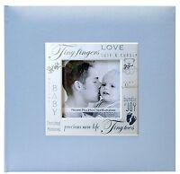 Baby Photo Album 200 Photos 4x6 Boy Scrapbook Pocket 9x9 Cover Opening Blue