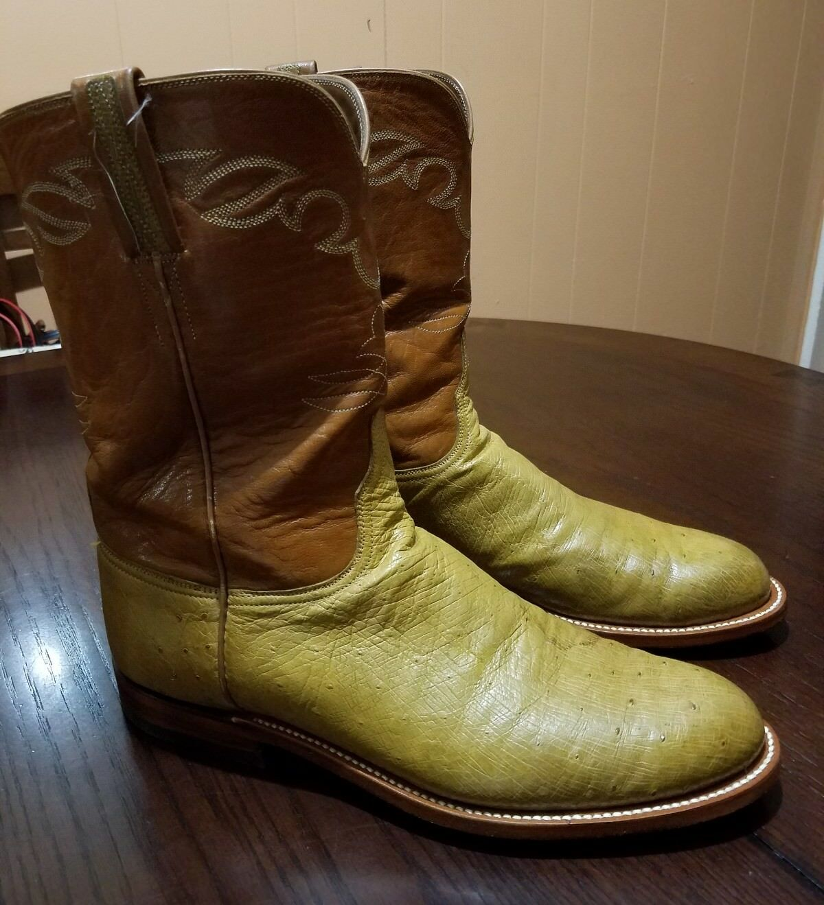 Lucchese Hand Made Uomo Smooth Ostrich Roper Western Stivali Size 10.5 D
