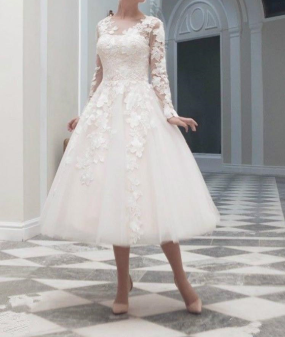 Lace Tulle Tea Length Bridal  Wedding Formal Formal Formal Short Gown Party Dresses Size 6-18 09e679