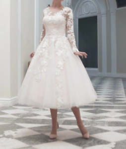 Bridal-Lace-Tulle-Tea-Length-Wedding-Formal-Short-Gown-Party-Dresses-Size-6-18
